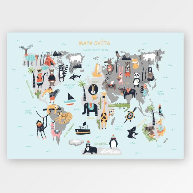 Mapa světa se zvířátky 1